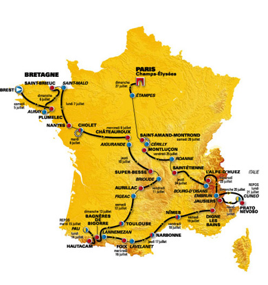 map of france with tour route