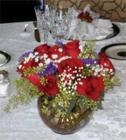 bouquet of red, white and blue flowers