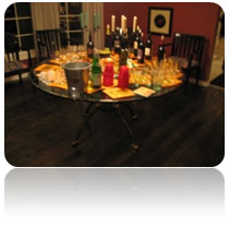 table set with party beverages